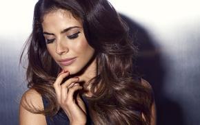 long hair, model, blue, actress, Weronika Rosati, brunette