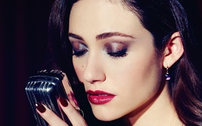 lips, girl, portrait, Emmy Rossum, brunette, microphone
