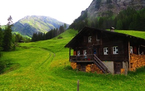 Bernese Alps, mountains, Alps, Lenk, green, chalet