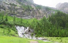Bernese Alps, mountains, Swiss Alps, Simmen Falls, Alps, Switzerland