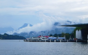 clouds, Switzerland, water, Luzern