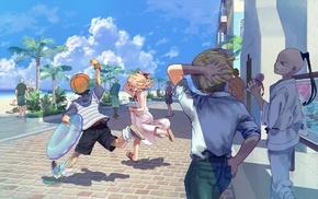landscape, children, anime
