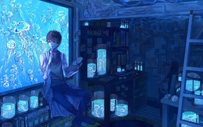 anime, laboratories, scientists, aquarium