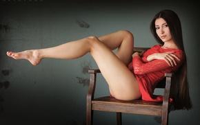 sitting, chair, girl, ass, wall, Dani Fehr