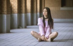 sitting, model, Asian, brunette, looking away, girl