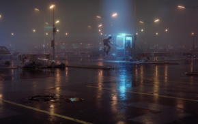 digital art, astronaut, UFO, parking lot, wet, phone box