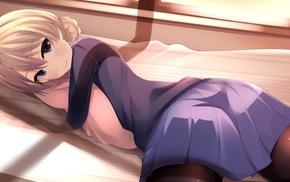 anime girls, skirt, braids, Girls und Panzer, blonde, Darjeeling