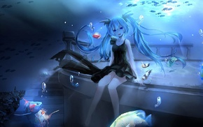 Hatsune Miku, underwater, fish, anime girls, Vocaloid, anime