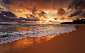 sunset, beach, waves