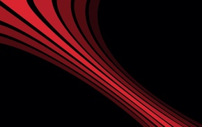 red, lines, digital art, black background, simple, minimalism