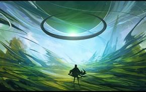 planet, landscape, anime