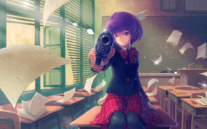 anime girls, classes, Japan, pistol, school uniform, anime
