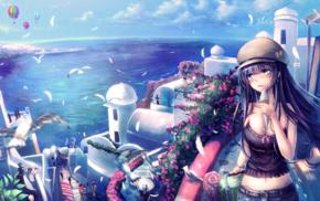 landscape, sea, water, anime