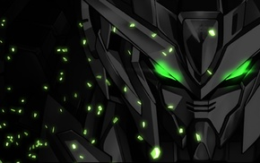 mech, artwork, Gundam, green eyes