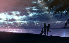 landscape, anime girls, clouds, beach, school uniform, sea