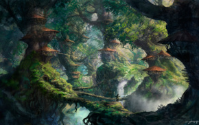 anime, artwork, landscape, fantasy art, trees