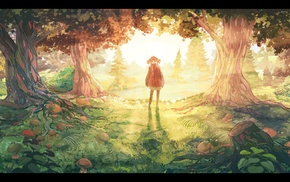 anime, fantasy art, landscape, anime girls, forest