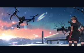 landscape, winter, drone, anime girls, anime