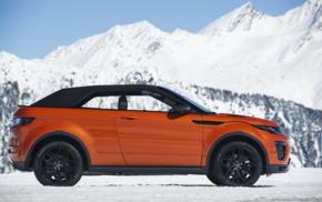 Convertible, vehicle, snow, car, Range Rover Evoque, mountains