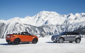 Convertible, snow, mountains, Range Rover Evoque, vehicle, car