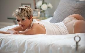 in bed, panties, looking at viewer, short hair, girl, ass