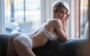 short hair, blonde, model, vest, white lingerie, ass