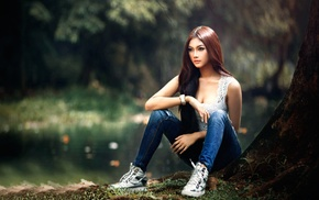 sitting, model, jeans, shoes, girl outdoors, long hair
