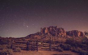 night, rock, landscape, desert, stars