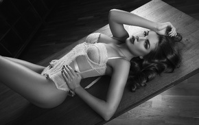 corset, glamour, brunette, monochrome, cleavage, lingerie