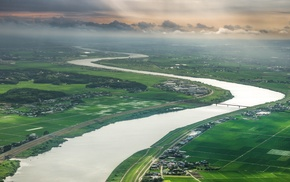 nature, Japan, aerial view, river, landscape