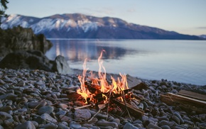 campfire, fire, nature, stone, water, depth of field