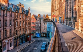 Edinburgh, vehicle, street, city, house, stores
