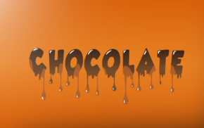 chocolate, spectrum, splashes, IT design, orange, text