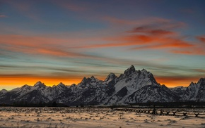 landscape, nature, snow, mountains, clouds, sunset