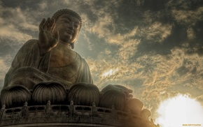 evening, Buddha, statue, religion, meditation