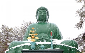 winter, Buddha, meditation, snow, religion, statue