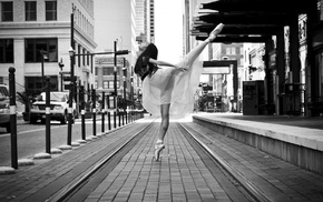 spread legs, looking up, ballerina, legs, city, ballet
