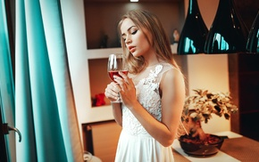 colorful, portrait, Peter Paszternak, dress, glass, juicy lips