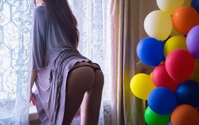 Fedor Shmidt, looking away, curtains, model, panties, girl