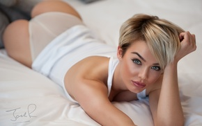 in bed, blonde, ass, short hair, Rosie Robinson, Jack Russell