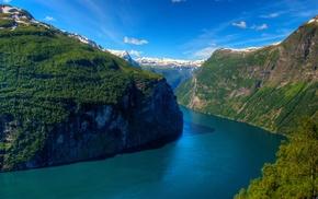 Geirangerfjord, forest, Geiranger, fjord, Norway, mountains