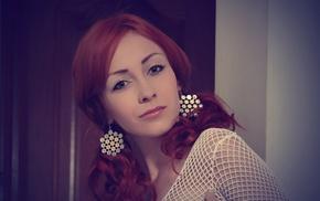 girl, redhead, Night A