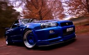 Nissan Skyline, Nissan GTR, blue cars, car, Nissan Skyline GT, R R34