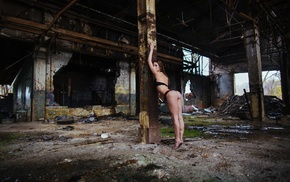 old building, ass, arms up, lingerie, girl, looking at viewer