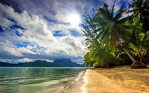 island, tropical, nature, landscape, Bora Bora, sea