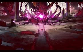purple, ruins, magic, forest, fantasy art