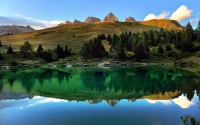 landscape, lake, Alps, reflection, calm, sunset