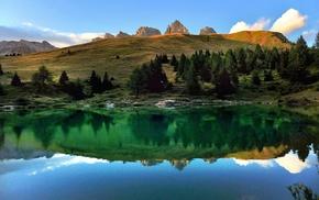 landscape, lake, Alps, reflection, calm, sunset