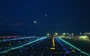 night, lights, airplane, airport