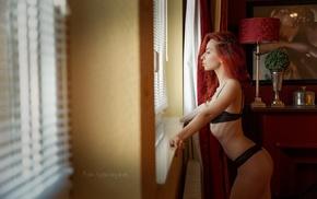 looking away, girl, black lingerie, window, ass, redhead